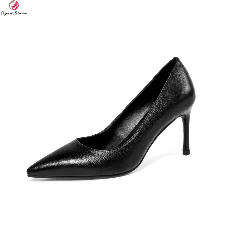 Original Intention New Women Pumps Sexy Pointed Toe Thin Heel Black Beige Shoes Woman Genuine Leather Fashion Shoes Size 4-8.5 2017 new sexy pointed toe high heel women pumps genuine leather spring summer shoes woman fashion dress party casual shoes pumps