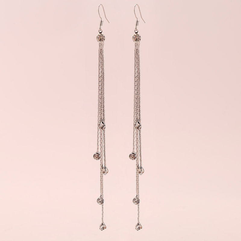 Fashion Personality Silver Long Earrings Gold And Drooping Shape Tassel Jewelry Simple Refi