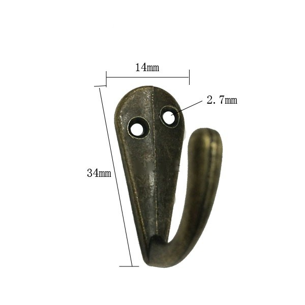 100pcs 14*34mm Wholesale Small Zinc Alloy Coat Hook Archaize Handicrafts Accessories