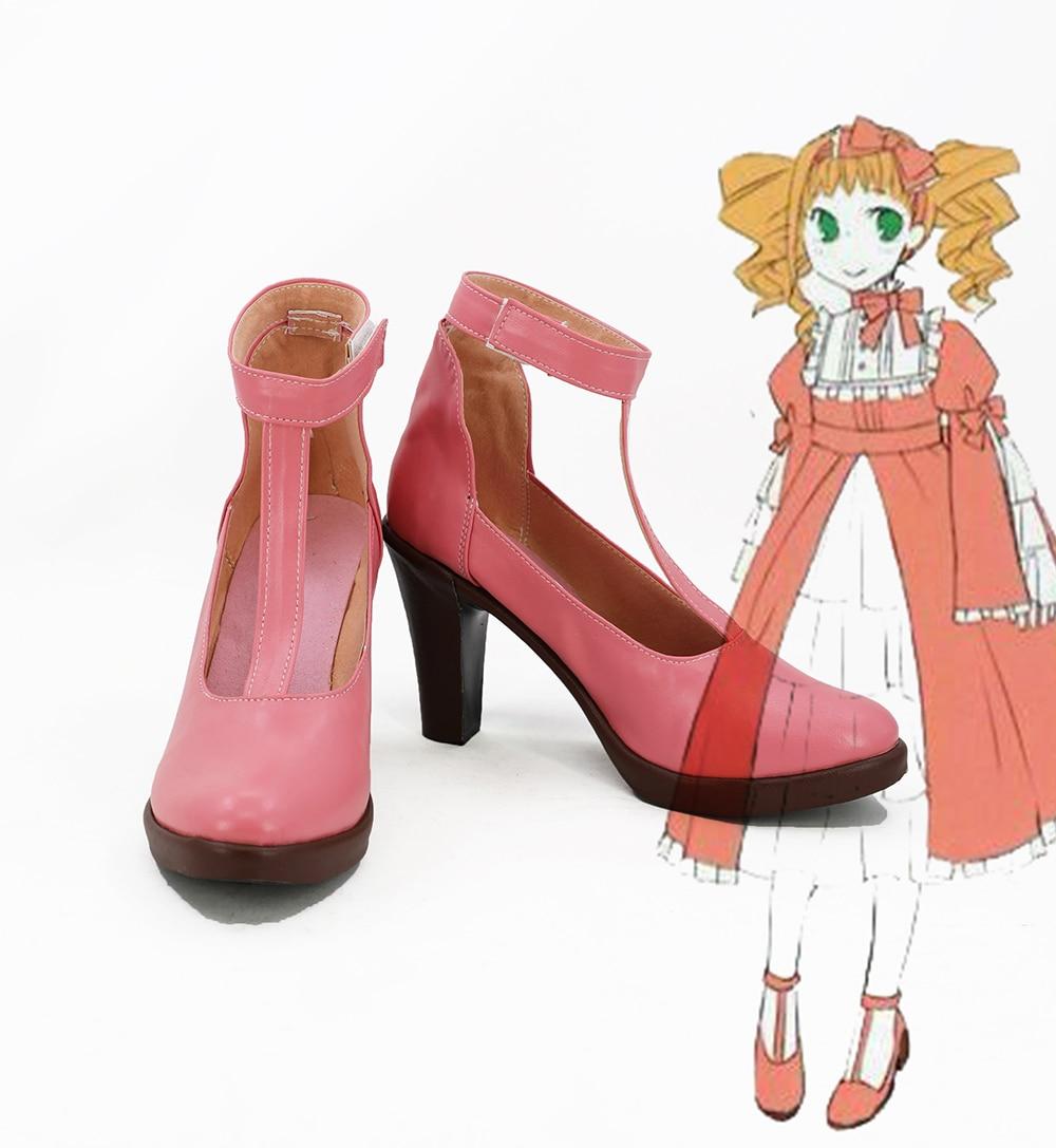 Elizabeth Midford Shoes Cosplay Black Butler Elizabeth Midford Cosplay Boots High Heel Pink Shoes Custom Made