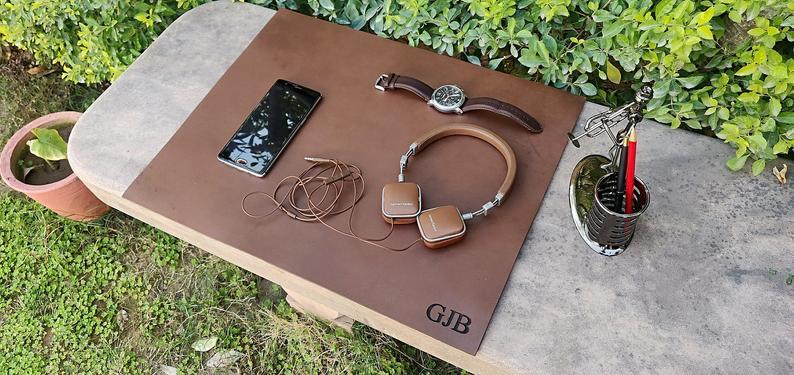 Tapis de bureau fait main 100% en cuir véritable Vintage marron tapis de souris de bureau accessoire personnalisé tapis de bureau de conférence