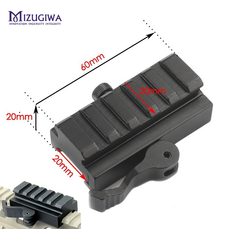 MIZUGIWA 5 Slots/3 Slots Libération Rapide Profil Bas Riser QR Bloc Picatinny Rail Mount Adapter 20mm Picatinny Bipied Chasse