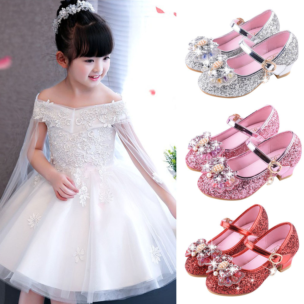 Infant Kids Baby Girls Pearl Crystal Bling Bowknot Single Princess Shoes  Sandals Cherry Single Party Shoes dbf266b3b295