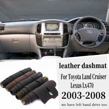 Leather Dashmat Dashboard Cover Pad Dash Mat Carpet Car Styling Accessories RHD For Toyota Land Cruiser Lc100 Lexus Lx470(China)