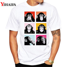 Men T-Shirt 3D Print Orangutan Summer Short Sleeve Funny Animal T Shirts Monkey Printed Tee Shirts monkey print tee