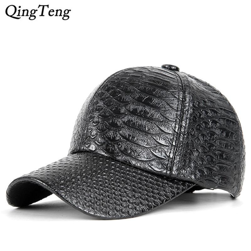 0f9a369a45fe0 New 2019 Crocodile Leather Man Cap Solid Black Baseball Cap Women Outdoor  Casual Brand Gorras Para