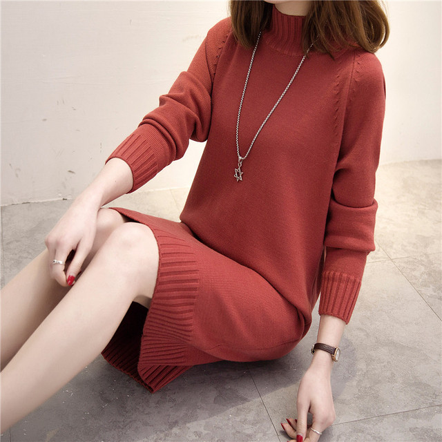 Autumn Winter Women Long Sweater 2018 New Loose Half Turtleneck Long Sleeve Knit Pullover Sweater Female Casual Large Size AA267