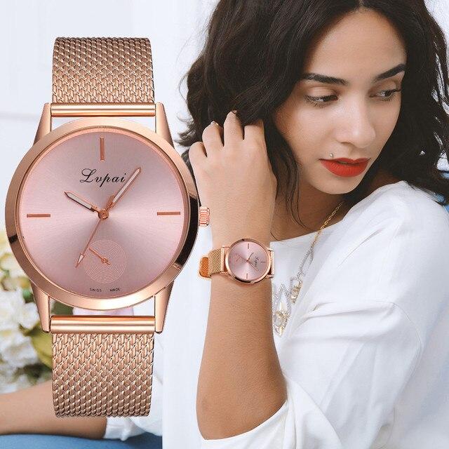 2018 Brand Gold Mesh Belt Stainless Steel Watch Quartz WristWatches Women Luxury