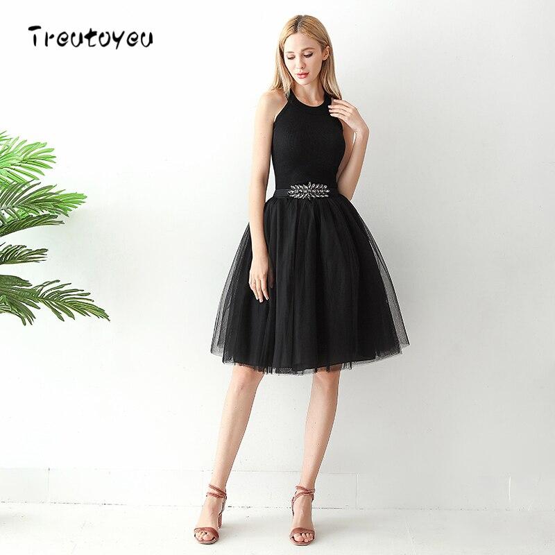 High Waist 6 Layer Midi Tulle Skirt Black Tutu Skirts Womens Petticoat Elastic Belt Summer 2018 Faldas Saia Jupe