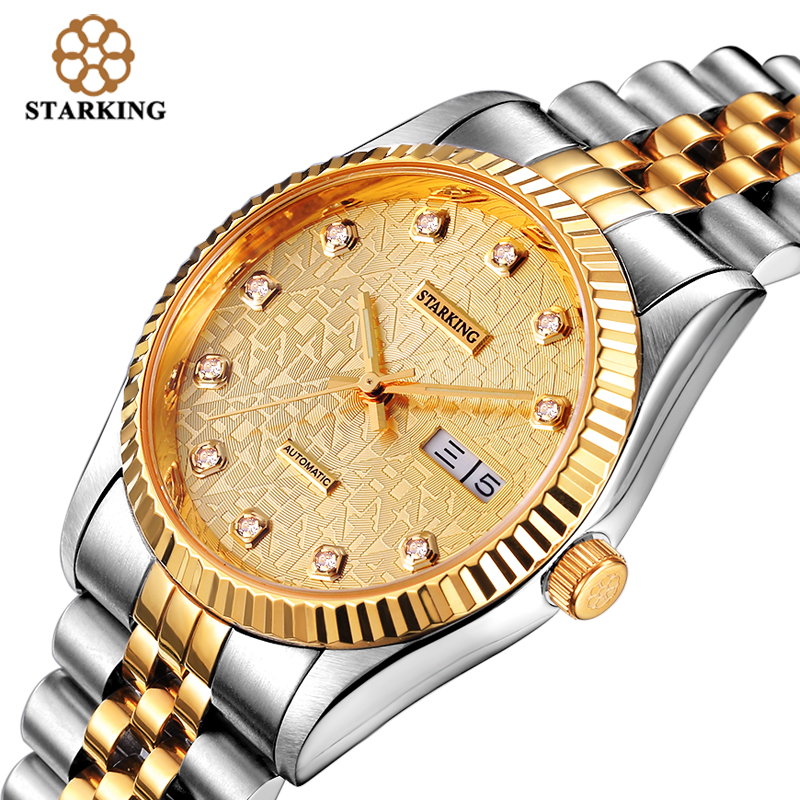 STARKING Luxury Men Automatic Stainless Steel Two Tone Gold Case and Gold Dial Wrist Watch AM0103 часы dkny ny2289 two tone gold