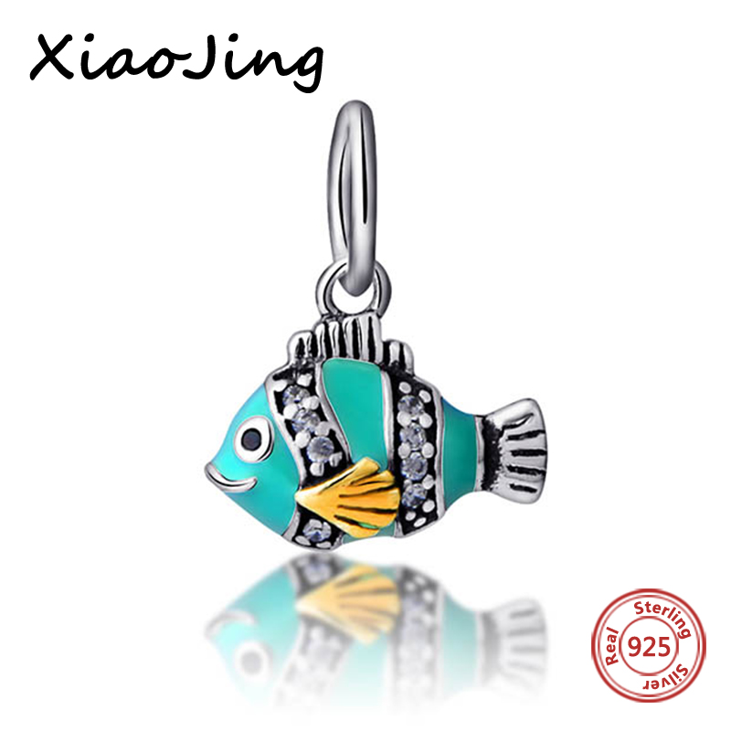 New Style 925-Sterling-Silver Blue Enamel Fish Pendants Charms Beads Fit Authentic Pandora Bracelets Charms Beads Jewelry Gifts