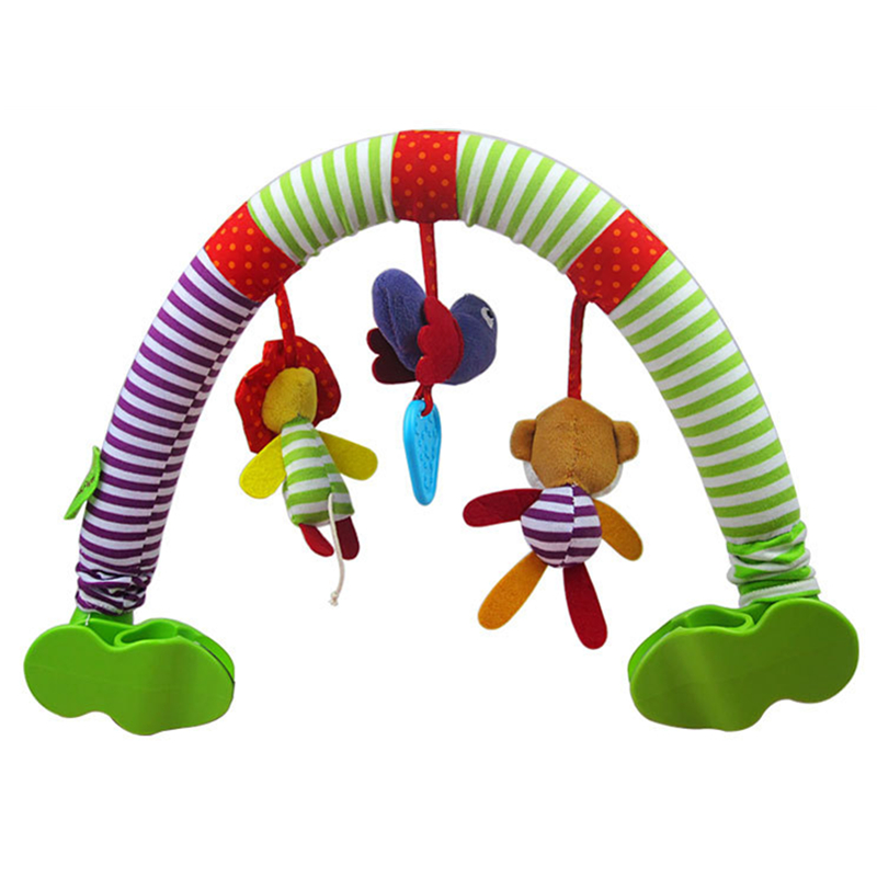 Direct Selling New Baby Bed Lathe Hanging Rattle Bell Animal Cotton Child Stroller Car Clip Hanging Toys G0296