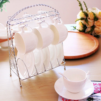 High quality JapanStyle white ceramic porcelain decorative tea cups saucers sets milk tea coffe cups with spoon stainless steel