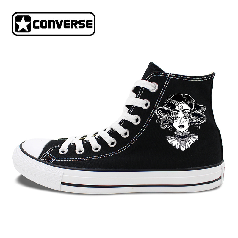 Converse Athletic Skate Shoes Original Design Unusual Art 4 Eyes Woman Sneakers High Top Lace Up Sport Flats Chucks vik max factory outlet white figure skate shoes two size left ice skate shoes cheap figure skate shoes