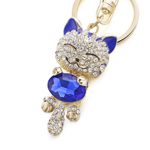 Cute Crystal Rhinestone cat Keyrings / Keychains
