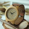 BOBO BIRD Unique Design Bamboo Wooden Watch Ladies Japan Movement Quartz Watch with Real Leather Strap as Gift for Girl Friend