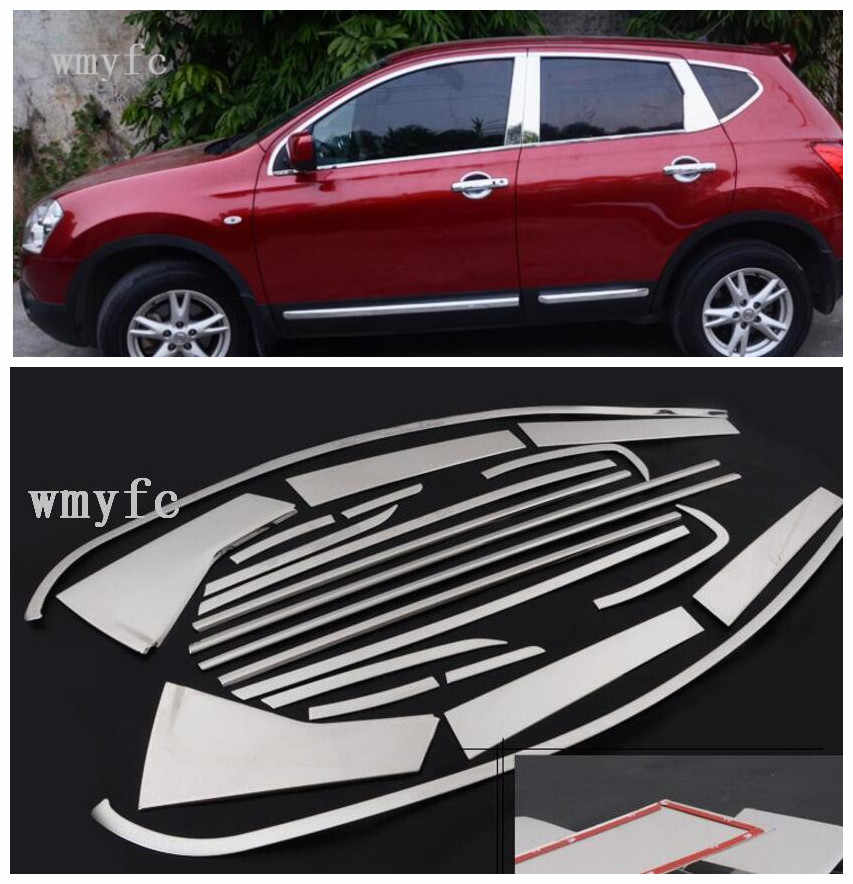 20pcs High-quality Car styling stainless steel Strips Car Window Trim Decoration Accessories for Nissan Qashqai J10 2007-2013