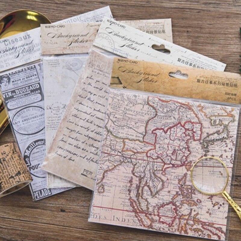 8 Sheet/Bag Vintage Newspaper Da Vinci Notes Paper Sticker Package DIY Diary Decoration Sticker Album Scrapbooking