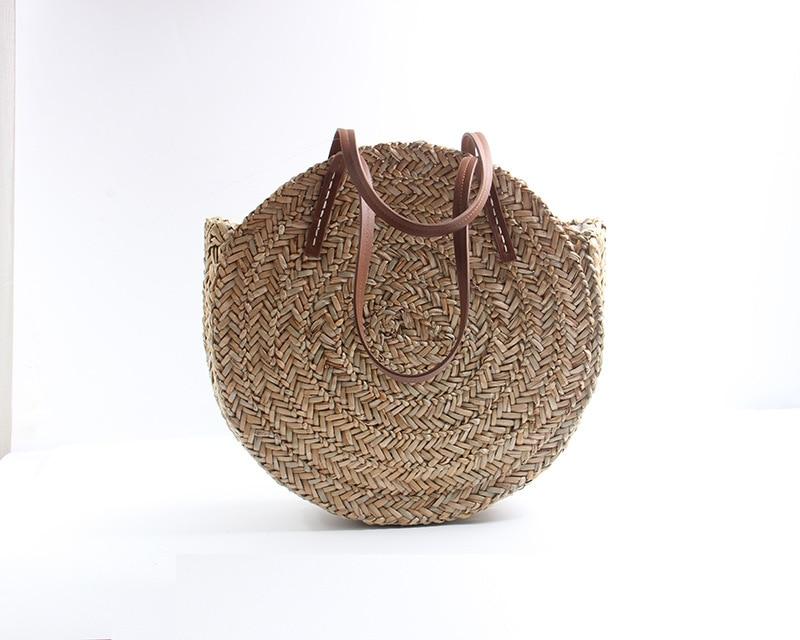 tecido redondo palha sacos de praia oval