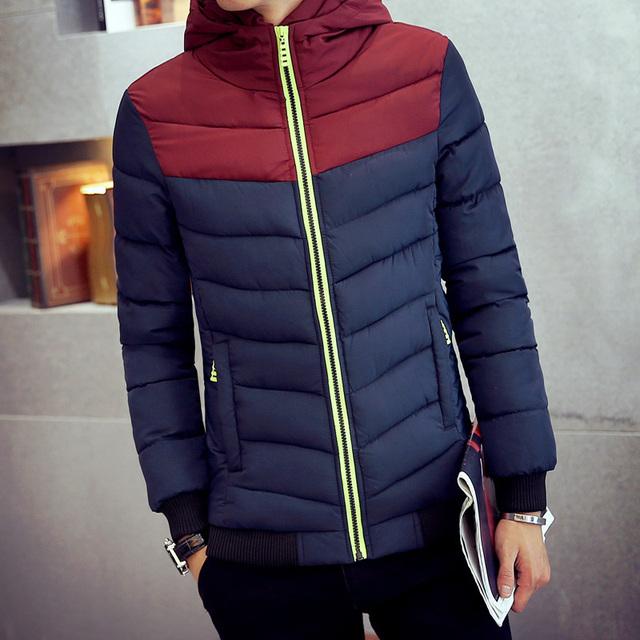 Roupas coats & jackets down & parkas inverno dos homens do sexo masculino de algodão-acolchoado espessamento ocasional amassado casaco fino outerwear com a capa