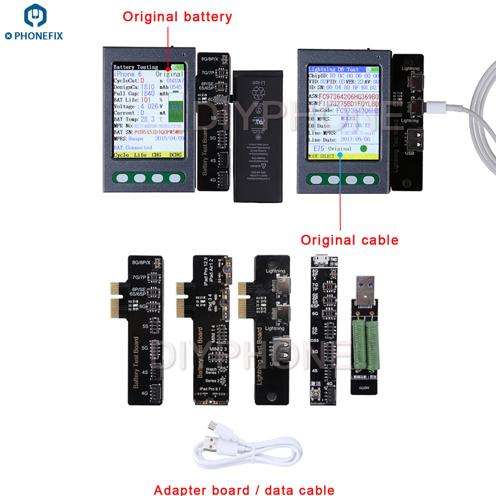 PHONEFIX Battery Test Box for Apple iPhone iPad with Battery Data Cable Test Board Battery Status