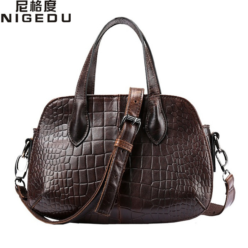 NIGEDU Brand Genuine Leather Women Handbags small Vintage Cowhide Messenger Bags Crocodile Shoulder bag for Women's Totes bolsa women shoulder bags leather handbags shell crossbody bag brand design small single messenger bolsa tote sweet fashion style