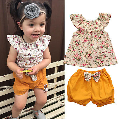 2PCS toddler flower floral new Set Infant Kids Baby Girl clothes T-shirt Tops+Pants Summer Clothes Outfits 0-3Y