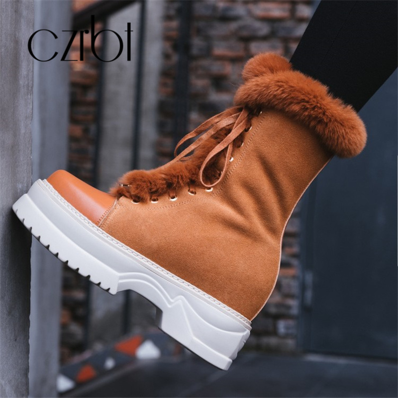 100% natural full genuine leather boots for women shoes wool warm snow boots 2018 fashion winter women boots non slip flat boots czrbt 2018 Winter Shoes Women Genuine Leather Wool Blend Keep Warm Lace-Up Snow Boots For Women Fashion Non-Slip Women Boots