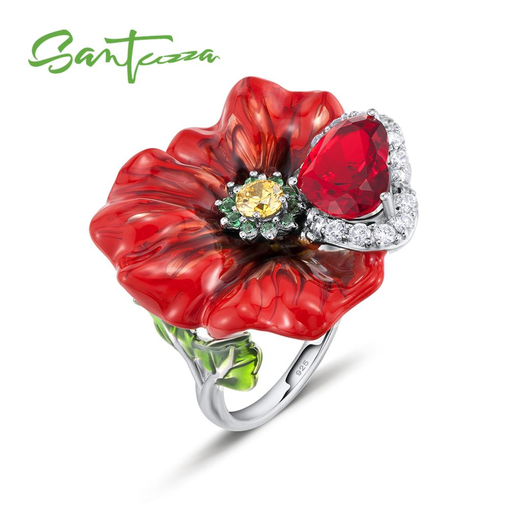 SANTUZZA Silver Flower Rings For Women 925 Sterling Silver Creative Red Rose Flower Ring Fashion Jewelry