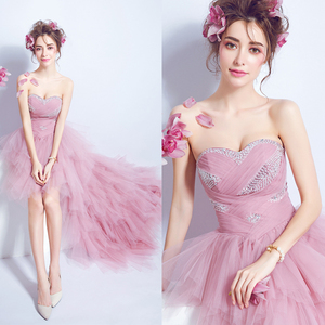 Image 1 - New Arrival Popin Fashion Front Short and Long Back Off the Shoulder Pink Trailing Wedding Gown 1068