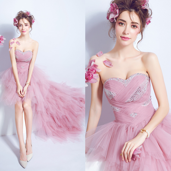 New Arrival Popin Fashion Front Short and Long Back Off the Shoulder Pink Trailing Wedding Gown 1068