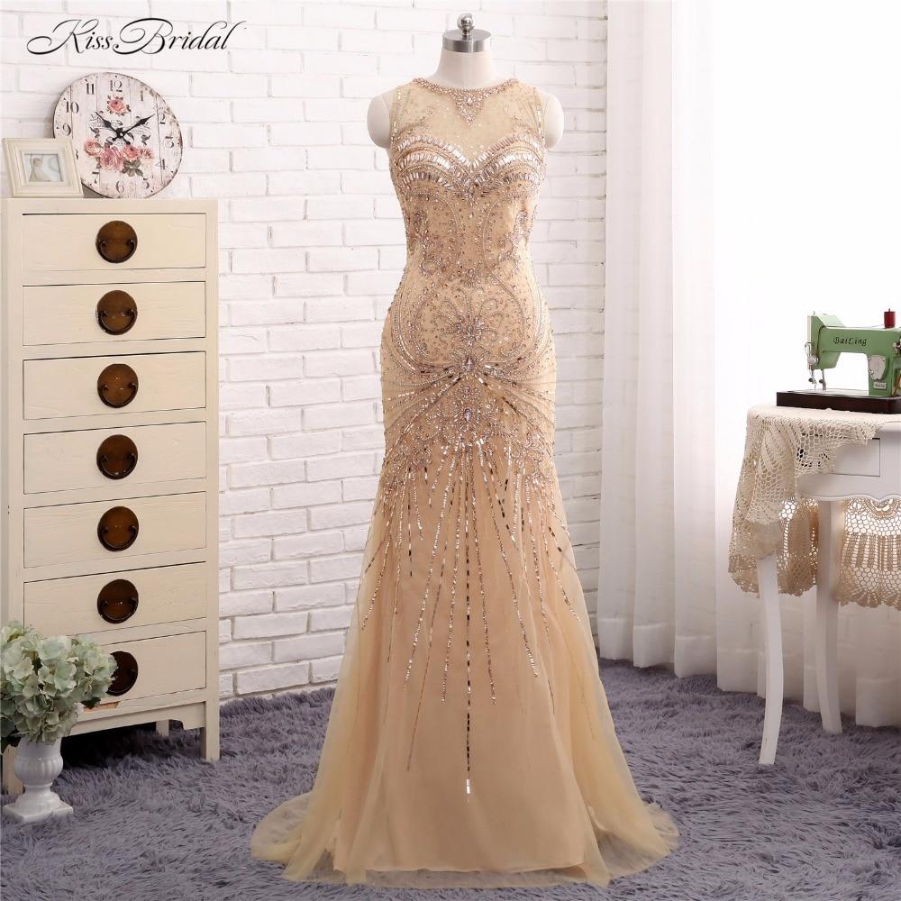 2018 New   Evening     Dresses   Long Vestido de Festa Mermaid Scalloped Crystal Beads Tulle Party Prom Gown Abendkleider Robe de Soiree
