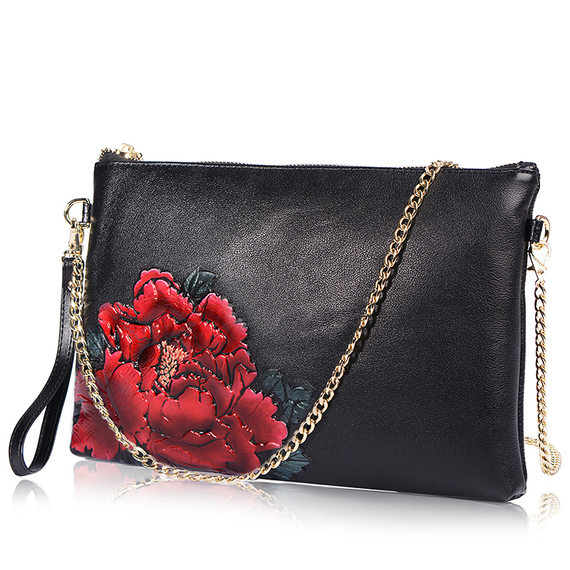 QIAODUO Women Cowhide Clutch Bag Painted Flower Female Genuine Leather Messenger Bag Luxe Evening Bags Crossbody Handbag Female europe style handbag cowhide genuine leather women evening crossbody shoulder bag large capacity messenger hand clutch bag