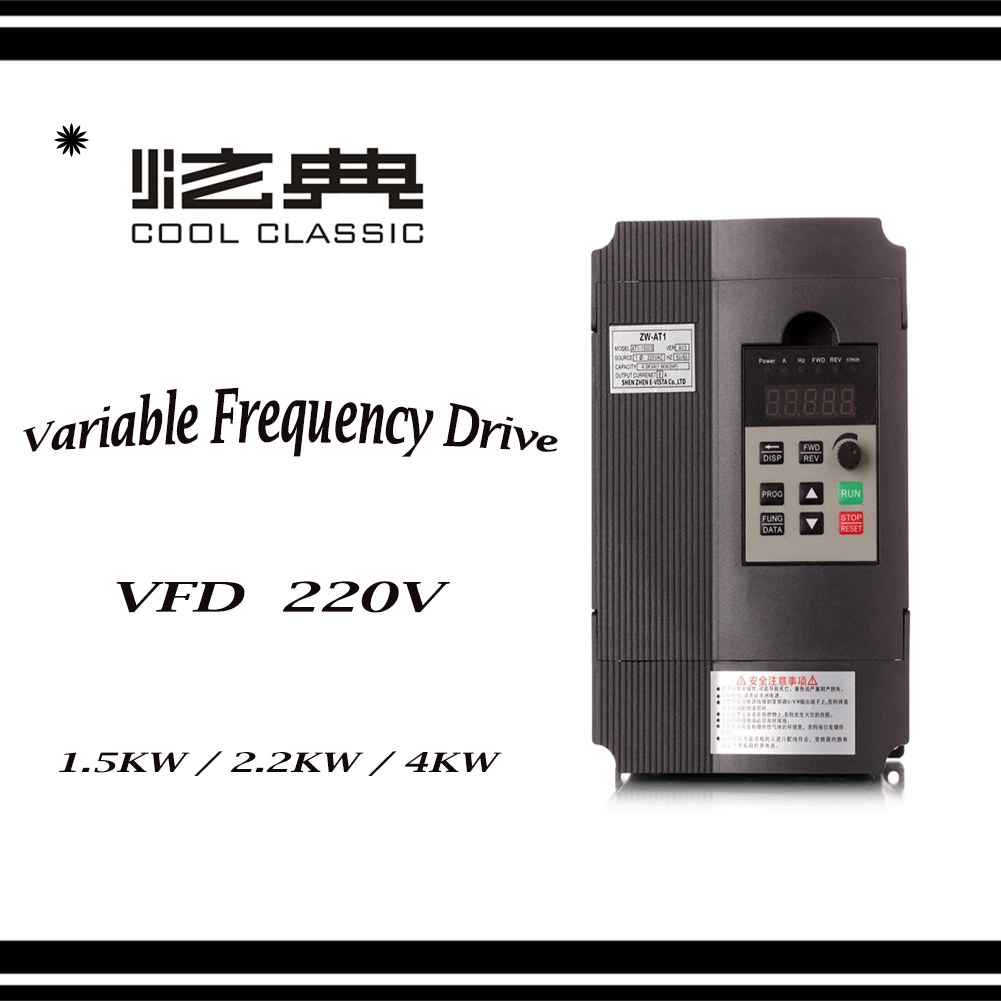 VFD Converter 1.5KW/2.2KW/4KW/5.5KW   Frequency Converter ZW-AT1 3P 220V Output  CNC Spindle motor speed Control VFD Converter