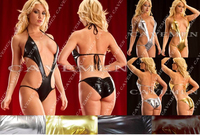 Golden silvery Leatherwear* 2960 *Ladies Thongs G string Underwear Panties Briefs T back Swimsuit Bikini Free Shipping