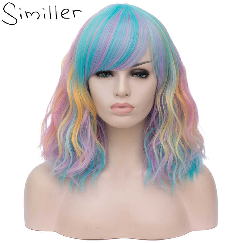 Similler Women Kinky Curly synthetic Hair Short Bob Wig For Cosplay Halloween Colorful Rainbow Wigs Heat Resistant Fiber 6 Style