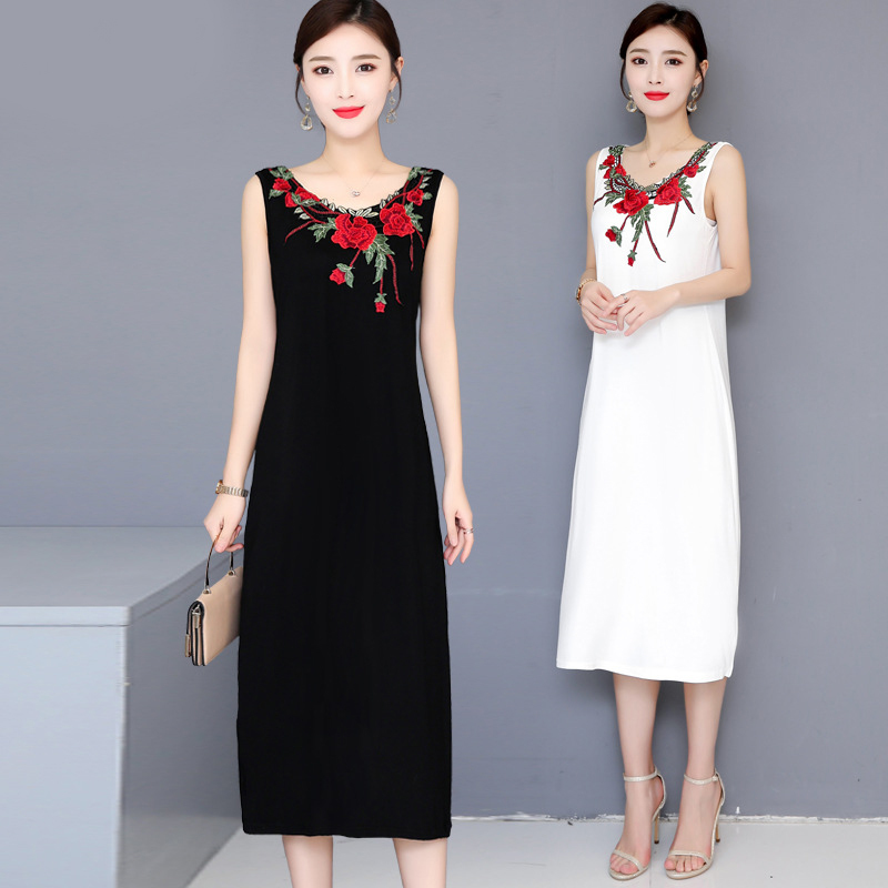 Women Fashion Vintage Floral Embroidery Vest Dress Summer O-neck Sleeveless Casual Party Dresses Vestidos Verano 2020 Mujer image