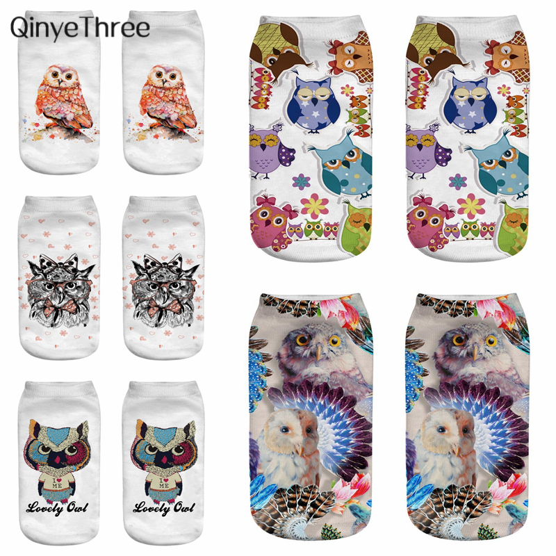 New Fashion Summer Autumn Harajuku Owl Socks 3D Printing Animal Sokken Nighthawk Low Cut Ankle Sox Owl Family Cute Owl Couple