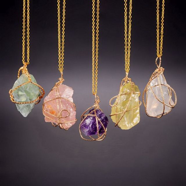 Qilmily handmade irregular natural stone pendant necklaces charm qilmily handmade irregular natural stone pendant necklaces charm for women gold color crystal wire wrapped necklace mozeypictures Gallery