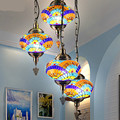 Vintage Bohemia Southeast Asia Handmad Colorful Glass Led E27 Pendant Light For Living Room Restaurant Coffee Bar 1874