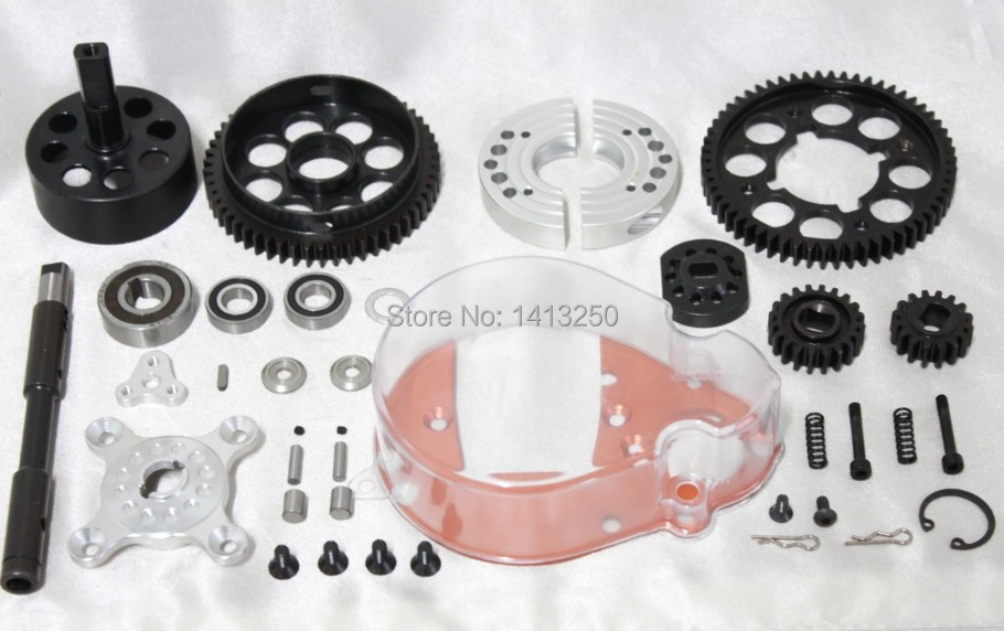 RC 1/5 Baja 2 Speed Transmission Gear Box Metal Gears Upgrade HPI Rovan KM baja 5b 2 speed transmission gears are 57t 51t 23t 17t of 1 5 rovan baja 5b km hpi 85179