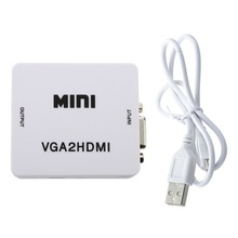 Hfes novo quente mini vga para hdmi conversor com áudio vga2hdmi adaptador conector para projetor computador portátil para hdtv