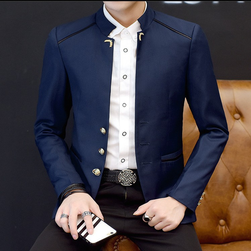 High Quality Cotton Slim Fit Men Suit Britishs Style Casual Slim Fit Men Suit Jacket Male Casual Suit Coat Terno Masculino
