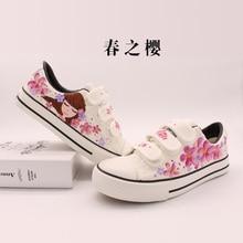 946798e12 Sapatos Mulheres Pintados À Mão Sapatas de Lona Tenis Branco Feminino 2018  Primavera Dos Desenhos Animados Anime Bordo Rabiscar .
