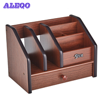 multifunctional Wooden Desktop Organizer Storage Box Pen Pencil Box Jewelry Makeup Holder Stationery Brown Office storage rack