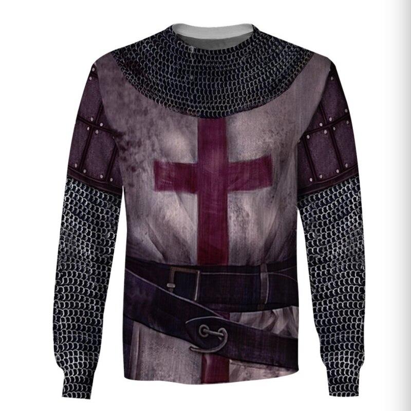 3D todo impreso Hoddie caballeros Templar Hoodie manga larga tapas cuello redondo ropa novedad Streetwear con capucha personalizada