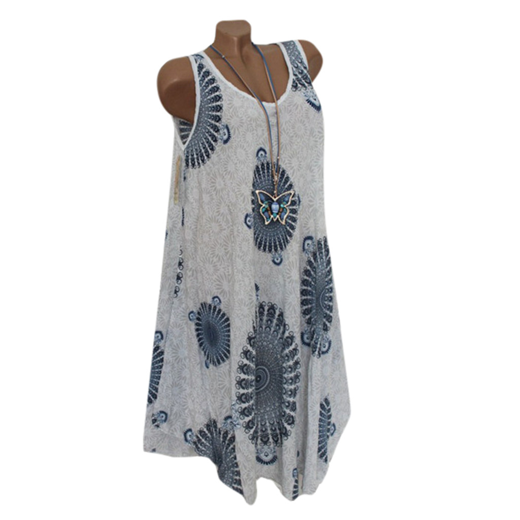 Women Casual Boho Print Splice Loose Dress Round Neck Dress Sleeveless Dress Lady 2020 Elegant Vestidos Female Vestido Summer