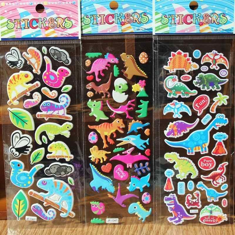 Dibujos Animados animales burbuja pegatinas lindo 3D burbuja hinchada pegatinas animales para niños dinosaurios juguetes de bebé escuela maestro recompensa