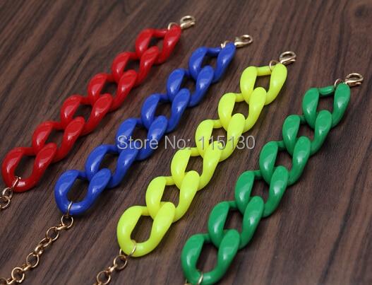 Fishsheep New Fashion Acrylic Chain Link Bracelet For Women Men Bohemian Colorful Cuff Wristband Bracelets & Bangles Jewelry 2