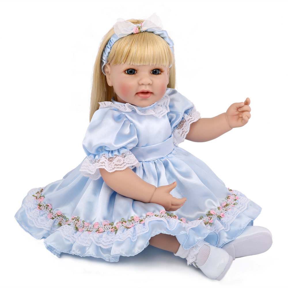 NPK DOLL Reborn Baby Doll Princess Blonde Hair Smile Face Vinyl Birthday Gift For Girls Boys Kids Playmate 20 inch Collection disney princess brass key 2003 holiday collection porcelain doll snow white